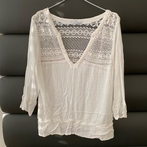MNG by Mango 3/4sleeve embroidered off white shirt